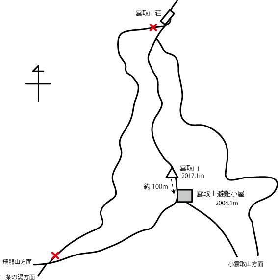 雲取山避難小屋の地図
