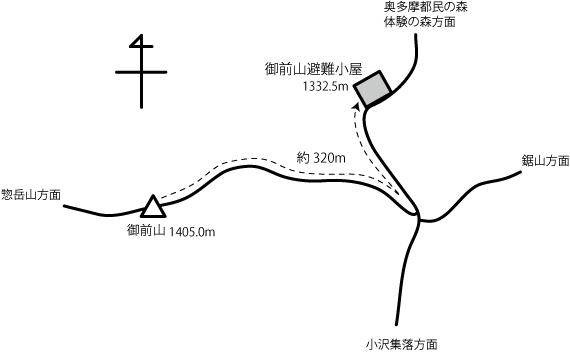 御前山避難小屋の地図
