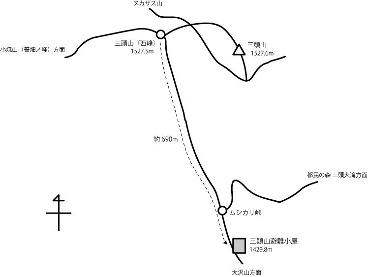 三頭山避難小屋の地図