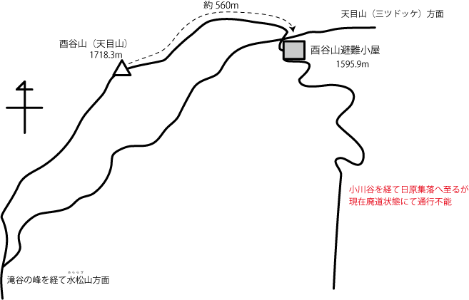酉谷山避難小屋の地図